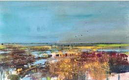 ??  ?? Saltmarsh, Pagham (2017), oil and rust on canvas
