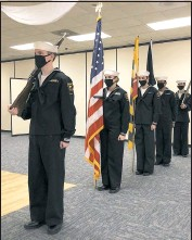?? PHOTO BY DOUG BISHOP ?? The SSBN Sea Cadet Unit 738 honor guard stand ready to present colors, Saturday, March 27, inside the Kent Island American Legion, Post 278, in Stevensville. From left cadets: Ben Jackson, Caroline Phillips, Aisling Nay, Cameron Ordonez, and Evan Newcomer.