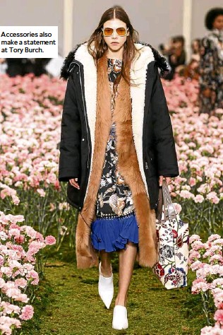 ??  ?? Accessories also make a statement at Tory Burch.