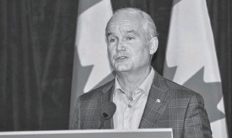 ?? DIANE CROCKER • SALTWIRE NETWORK ?? Conservative leader Erin O'toole paid a campaign visit to Corner Brook, N.L., on Friday.