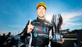 ?? Photo / Getty Images ?? Chaz Mostert celebrates his second win of the season.