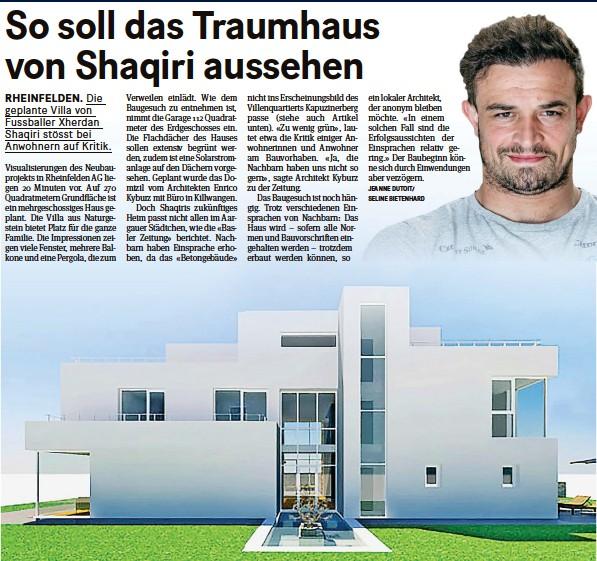 ?? KYBURZARCHIMMO.CH/FRESHFOCUS ?? Visualisierungen zeigen, wie Nati-fussballer Xherdan Shaqiri (oben) in Rheinfelden AG wohnen möchte.