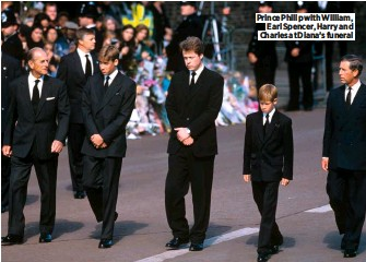 ??  ?? Prince Philip with William, Earl Spencer, Harry and Charles at Diana's funeral