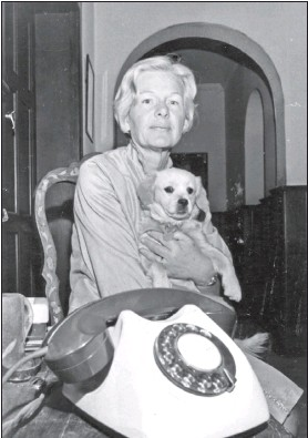 ??  ?? WAITING IN VAIN: Rosalind Ballingall's mother, with her daughter's dog, pictured here after Rosalind's disappearance in 1969, waited constantly by her phone, hoping to hear news of her daughter