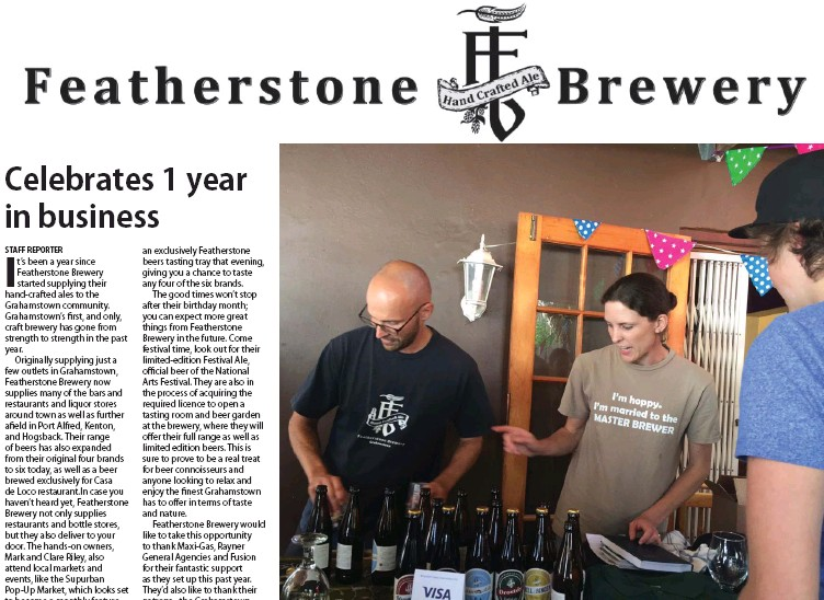 ?? Photos: Supplied ?? Mark and Clare Riley hard at work promoting Featherstone Brewery at the first Supurban Pop-up Market last month.