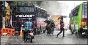 ?? PIC/PTI ?? A pre-monsoon showers in Thiruvananthapuram