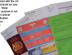 ??  ?? BOTTOM RIGHT A full set of documentation is required for car and travellers including a green card