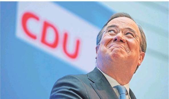 ?? FOTO: MICHAEL KAPPELER/DPA ?? Sichtlich erleichtert: Armin Laschet bei seiner Pressekonferenz im Konrad-Adenauer-Haus zur Kanzlerkandidatenfrage der Union.