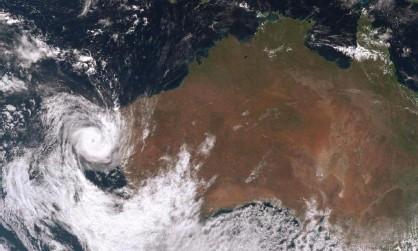 ?? Photograph: Bureau of Meteorology ?? A satellite image shows Tropical Cyclone Seroja tracking off the coast of Western Australia on Sunday.