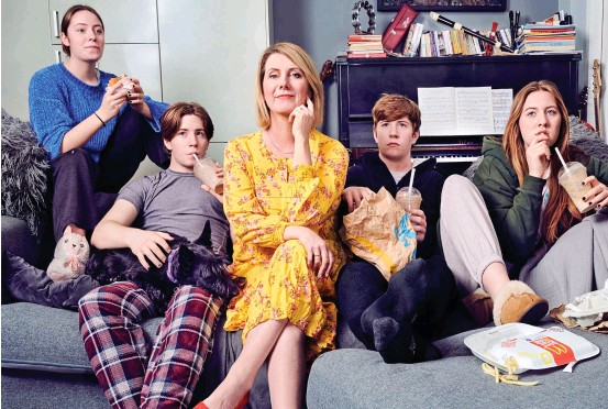 ??  ?? Fast-food feast: Mum Jackie is not impressed as teenagers Saoirse, Thady, Frank and Orla wolf down more takeaway food