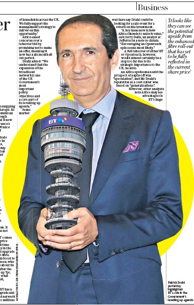 ??  ?? Patrick Drahi yesterday highlighted BT's role in the Government's levelling up agenda