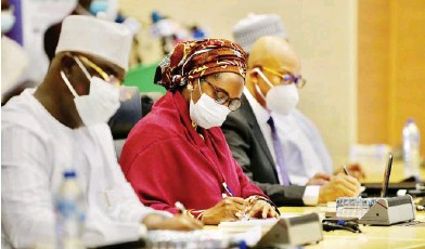 ?? Photo: NAN ?? From left: Minister of State, Budget and National Planning, Prince Clem Agba; Minister of Finance, Budget and National Planning, Zainab Ahmed; and Director-General, Budget Office, Ben Akabueze, during the public presentation of the 2020 Budget Proposal in Abuja yesterday