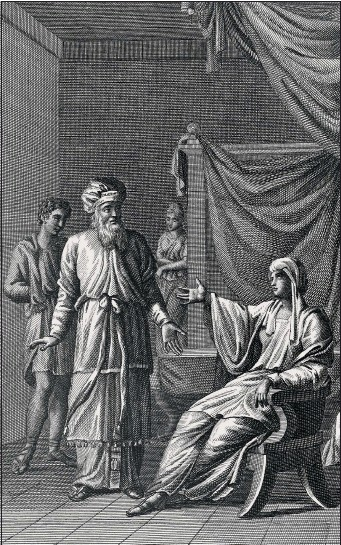 ?? PHOTO: GETTY IMAGES ?? Huldah the Prophetess tells the High Priest what King Josiah's fate is to b e (II Kings 22) Engraving by Carl Schuler c 1850