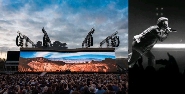 ??  ?? (l to r) The Joshua Tree Tour comes home; Bono prowls the 3Arena stage, and under a blood red sky in Dublin