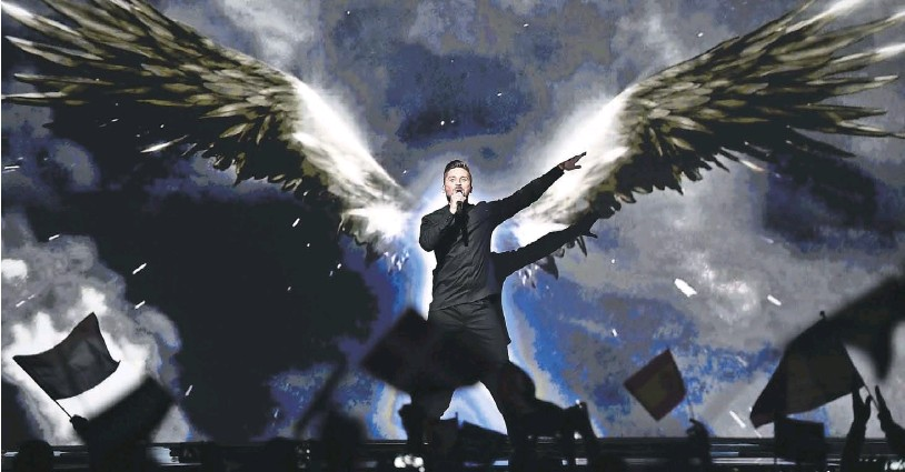 ?? Photograph: Martin Meissner/AP ?? Russia's Sergei Lazarev is tipped to win tonight, against Ukraine's Jamala, but Moscow's Crimea annexation could trigger a voting backlash among east Europeans
