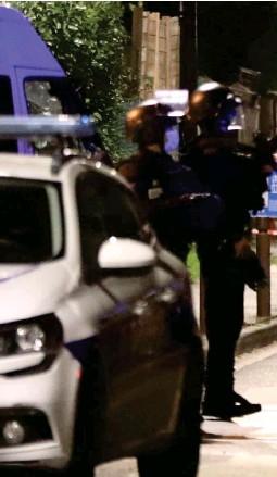 ??  ?? Eragny (Val-d'oise), hier. Le terroriste présumé a été abattu peu après avoir commis son crime.