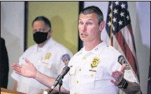 ?? THE ASSOCIATED PRESS ?? Deputy Chief Craig McCartt of the Indianapolis Metropolitan Police Department speaks about a Thursday shooting at a FedEx facility.