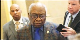 ?? Tribune News Service/getty Images ?? House Majority Whip Rep. James Clyburn (D-SC) speaks to members of the media at the U.S. Capitol in Washington, D.C., in March 2020.