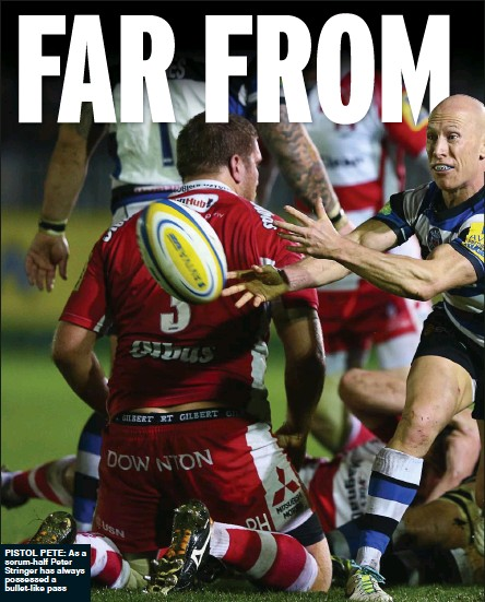 ??  ?? pistol pete: As a scrum-half Peter Stringer has always possessed a bullet-like pass