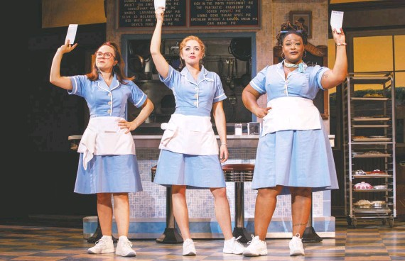 """?? JOAN MARCUS ?? Easy as pie, """"Waitress"""" dishes out earworm tunes and charm with, from left, Lenne Klingaman, Desi Oakley and Charity Angel Dawson."""