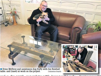 ?? Catherine Smyth ?? Brian McEvoy and assistance dog Buffy with his finished table. and (inset) at work on the project