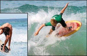 ??  ?? Skimmers catch crunching beach breaks – and the sport is growing.