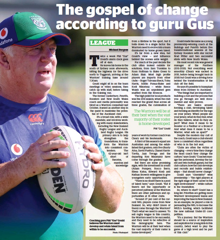 """?? Photo / Photosport ?? Coaching guru Phil """"Gus"""" Gould believes the Warriors must develop and retain talent from within to be successful."""
