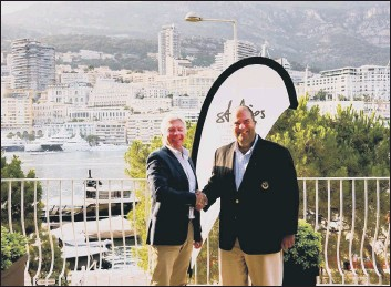 ??  ?? SHAKE ON IT David Brierley, from Wickham, with easyJet airline founder Sir Stelios HajiIonnau. The pair have just joined forces to launch easyProperty