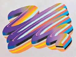 """??  ?? """"STROKE #12"""", 2019, de Pablo Harymbat – Gualicho. Enamel y acrílico sobre tela. 160 x 205 cm. Una de las obras ofrecidas en la subasta de Azur, con un precio base de 2.000 dólares."""