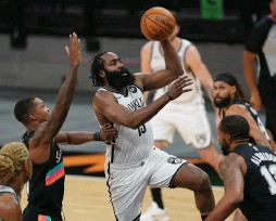 ?? (Reuters) ?? JAMES HARDEN became the first NBA player to ever post a 30-15-10 line without committing a single turnover as he scored 30 points, dished out 15 assists and grabbed 14 rebounds in the Brooklyn Nets' 124-113 overtime victory over the San Antonio Spurs this week.