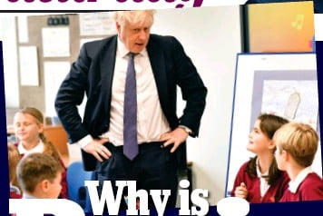 ?? Picture: ANDREW PARSONS / I-IMAGES ?? An education: Boris Johnson visits a classroom during last year's election campaign