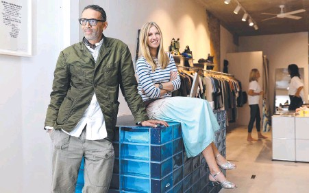 ?? JANE DEMPSTER ?? Retail therapy … Nicola and Orlando Reindorf at their recently reopened fashion outlet The Standard Store in Sydney's Surry Hills