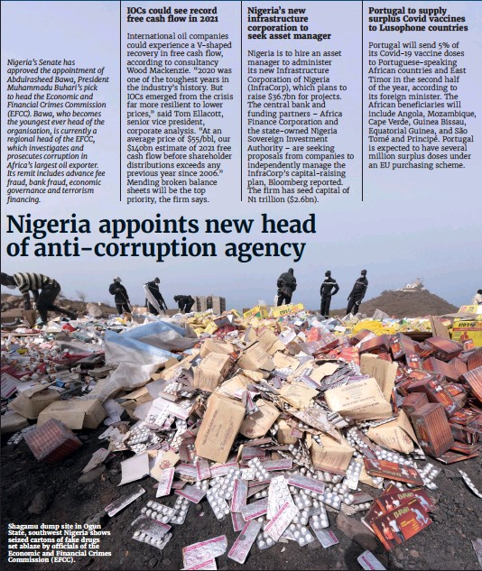 ??  ?? Shagamu dump site in Ogun State, southwest Nigeria shows seized cartons of fake drugs set ablaze by officials of the Economic and Financial Crimes Commission (EFCC).