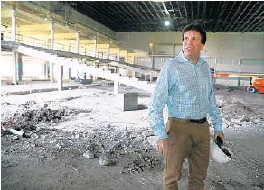 """?? CARLINE JEAN/STAFF PHOTOGRAPHER ?? There's not much left of the old Dania Jai-Alai. """"This can be a special place,"""" says Scott Savin, CEO of Dania Entertainment, above."""
