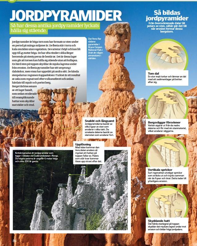 ??  ?? Kvitskriuprestan är jordpyramider som ligger i Uldalen vid Gudbrandsdalen i Norge. De högsta pelarna är ungefär 6 meter höga och cirka 200 år gamla. Det finns fler sådana pyramider i Bryce Canyon National Park i Utah än någon annanstans i världen.