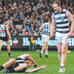 ??  ?? FLAT PIE: Nathan Brown floored as Geelong's Steve Johnson looks on at the MCG on Friday night.