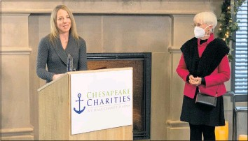 ?? CONTRIBUTE­D PHOTO ?? Beth Anne Langrell, CEO of For All Seasons, left, accepts the Chesapeake Charities 2020 Nonprofit of the Year Award from State Sen. Addie Eckardt, R-37-mid-shore.