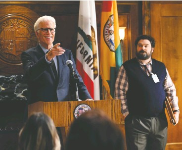 ?? NBC ?? Even sitcom veteran Ted Danson, left, seen with SNL alum Bobby Moynihan, can't save Mr. Mayor, a new comedy series about city government.