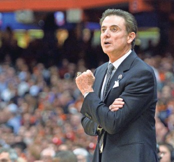 ?? MARK KONEZNY, USA TODAY SPORTS ?? Rick Pitino, above, denied having knowledge of alleged sex parties for Louisville players and recruits and said his former assistant, Andre McGee, needs to tell the truth about the situation.
