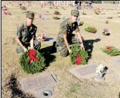 ?? PHOTO BY KAREN BOWEN ?? CIVIL AIR PA­TROL CADETS Bran­don Sar­rasin and Tris­tan Obre­gon place wreaths in honor of fallen vet­er­ans at Desert Lawn Memo­rial Ceme­tery as part of the na­tion­wide Wreaths Across Amer­ica Day that hon­ored fallen vet­er­ans with wreaths.
