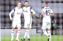 ?? - AFP photo ?? Tottenham Hotspurs Welsh midfielder Gareth Bale (L) celebrates scoring his team's third goal against Wolfsberg during the UEFA Europa League Last 32 Second Leg match at the Tottenham Hotspur Stadium in London, on February 24, 2021.