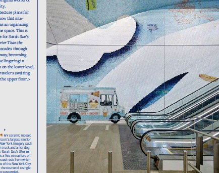 ??  ?? Laura Owens' I NY ceramic mosaic occupies the airport's largest interior wall with iconic New York imagery such as an ice cream truck and a hot dog. Opposite page: Sarah Sze's Shorter Than the Day is a five-ton sphere of aluminum and steel rods from which 1,200 snapshots of the New York City sky, taken over the course of a single