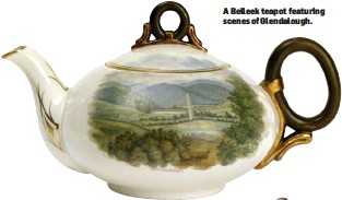 ??  ?? A Belleek teapot fea­tur­ing scenes of Glen­dalough.
