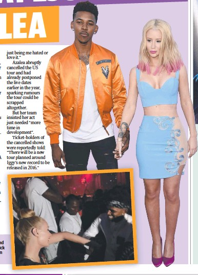 ??  ?? NIGHT OUT: Iggy Azalea and her basketball star beau Nick k Young; the pair together on the dance floor (inset).