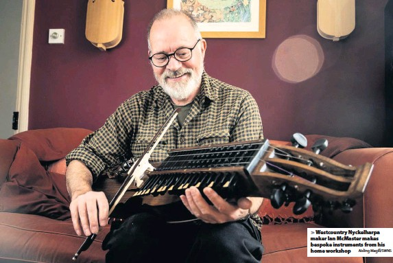 ?? Aisling Magill/SWNS ?? Westcountr­y Nyckelharp­a maker Ian McMaster makes bespoke instrument­s from his home workshop