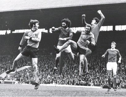 ??  ?? John Mcalle, Mike Bailey and Phil Parks combine to thwart George Best while United's Alan Gowling looks on