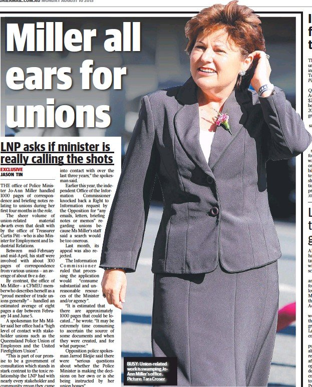 ??  ?? BUSY: Union-related work is swamping JoAnn Miller's office . Picture: Tara Croser