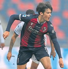 ??  ?? Aaron Hickey in Serie A action for Bologna