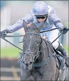 ??  ?? My Drogo, ridden by Harry Skelton, wins the Betway Mersey Novices' Hurdle at Aintree