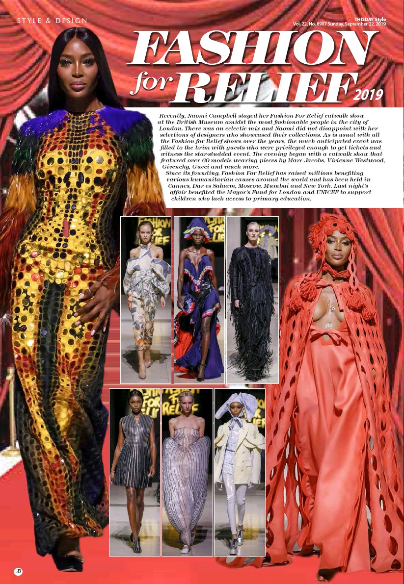 Pressreader Thisday Style 2019 09 22 Fashion For Relief 2019